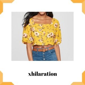 Button-Front Square-Neck 3/4-Sleeve Cropped Top